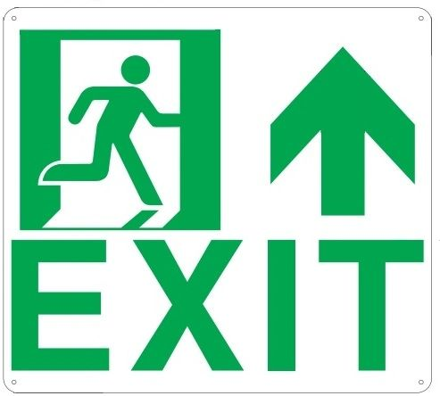 "PHOTOLUMINESCENT EXIT SIGN HEAVY DUTY / GLOW IN THE DARK ""EXIT"" SIGN HEAVY DUTY (ALUMINUM SIGN 9 X 10 WITH UP ARROW AND RUNNING MAN)"