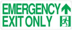 "PHOTOLUMINESCENT EMERGENCY EXIT ONLY SIGN HEAVY DUTY / GLOW IN THE DARK ""EXIT"" SIGN HEAVY DUTY (ALUMINUM SIGN 9 X 10 WITH UP AAROW AND RUNNING MAN)"