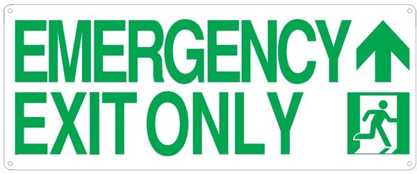 """PHOTOLUMINESCENT EMERGENCY EXIT ONLY SIGN HEAVY DUTY / GLOW IN THE DARK """"EXIT"""" SIGN HEAVY DUTY (ALUMINUM SIGN 9 X 10 WITH UP AAROW AND RUNNING MAN)"""