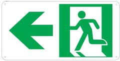 """PHOTOLUMINESCENT EXIT SIGN HEAVY DUTY / GLOW IN THE DARK """"EXIT"""" SIGN HEAVY DUTY (ALUMINUM SIGN 4.5 X 9 WIT LEFT ARROW AND RUNNING MAN)"""