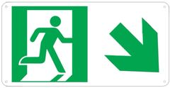 """PHOTOLUMINESCENT EXIT SIGN HEAVY DUTY / GLOW IN THE DARK """"EXIT"""" SIGN HEAVY DUTY (ALUMINUM SIGN 4.5 X 9 WITH RIGHT DOWN ARROW AND RUNNING MAN)"""