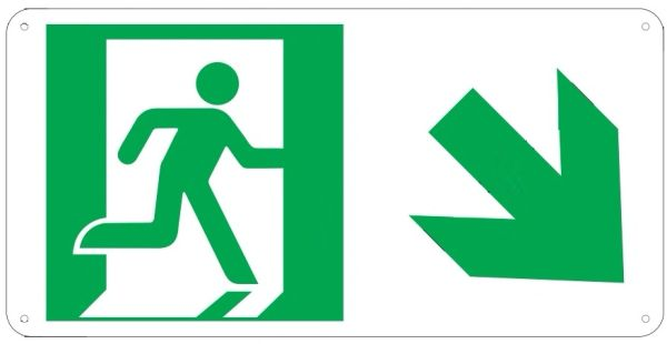 "PHOTOLUMINESCENT EXIT SIGN HEAVY DUTY / GLOW IN THE DARK ""EXIT"" SIGN HEAVY DUTY (ALUMINUM SIGN 4.5 X 9 WITH RIGHT DOWN ARROW AND RUNNING MAN)"