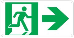 """PHOTOLUMINESCENT EXIT SIGN HEAVY DUTY / GLOW IN THE DARK """"EXIT"""" SIGN HEAVY DUTY (ALUMINUM SIGN 4.5 X 9 WITH RIGHT ARROW AND RUNNING MAN)"""