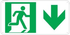 """PHOTOLUMINESCENT EXIT SIGN HEAVY DUTY / GLOW IN THE DARK """"EXIT"""" SIGN HEAVY DUTY (ALUMINUM SIGN 4.5 X 9 WITH DOWN ARROW AND RUNNING MAN)"""