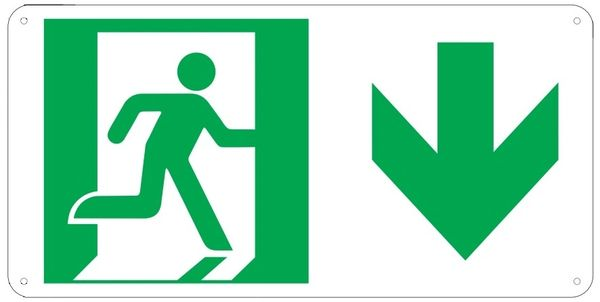 "PHOTOLUMINESCENT EXIT SIGN HEAVY DUTY / GLOW IN THE DARK ""EXIT"" SIGN HEAVY DUTY (ALUMINUM SIGN 4.5 X 9 WITH DOWN ARROW AND RUNNING MAN)"