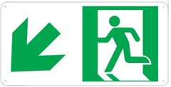 """PHOTOLUMINESCENT EXIT SIGN HEAVY DUTY / GLOW IN THE DARK """"EXIT"""" SIGN HEAVY DUTY (ALUMINUM SIGN 4.5 X 9 WITH LEFT DOWN ARROW AND RUNNING MAN)"""