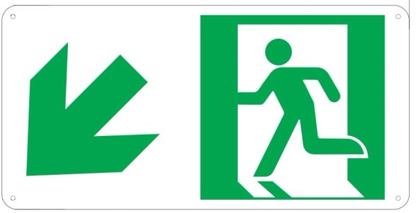 "PHOTOLUMINESCENT EXIT SIGN HEAVY DUTY / GLOW IN THE DARK ""EXIT"" SIGN HEAVY DUTY (ALUMINUM SIGN 4.5 X 9 WITH LEFT DOWN ARROW AND RUNNING MAN)"
