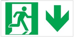 """GLOW IN THE DARK HIGH INTENSITY SELF STICKING PVC GLOW IN DARK GUIDANCE SAFETY SIGN - """"EXIT"""" SIGN 4.5X9 WITH RUNNING MAN AND DOWN ARROW"""