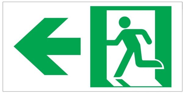 "GLOW IN THE DARK HIGH INTENSITY SELF STICKING PVC GLOW IN THE DARK SAFETY GUIDANCE SIGN - ""EXIT"" SIGN 4.5X9 WITH RUNNING MAN AND LEFT ARROW"