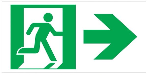 "GLOW IN THE DARK HIGH INTENSITY SELF STICKING PVC GLOW IN THE DARK SAFETY GUIDANCE SIGN - ""EXIT"" SIGN 4.5X9 WITH RUNNING MAN AND RIGHT ARROW"