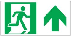 """GLOW IN THE DARK HIGH INTENSITY SELF STICKING PVC GLOW IN THE DARK SAFETY GUIDANCE SIGN - """"EXIT"""" SIGN 4.5X9 WITH RUNNING MAN AND UP ARROW"""
