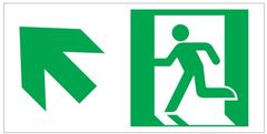 """GLOW IN THE DARK HIGH INTENSITY SELF STICKING PVC GLOW IN THE DARK SAFETY GUIDANCE SIGN - """"EXIT"""" SIGN 4.5X9 WITH RUNNING MAN AND UP LEFT ARROW"""
