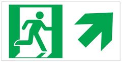 """GLOW IN THE DARK HIGH INTENSITY SELF STICKING PVC GLOW IN THE DARK SAFETY GUIDANCE SIGN - """"EXIT"""" SIGN 4.5X9 WITH RUNNING MAN AND UP RIGHT ARROW"""