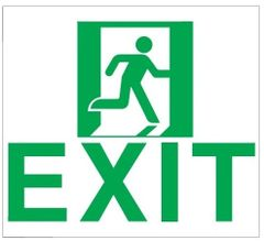 "GLOW IN THE DARK HIGH INTENSITY SELF STICKING PVC GLOW IN THE DARK SAFETY GUIDANCE SIGN - ""EXIT"" SIGN 9X10 WITH RUNNING MAN"
