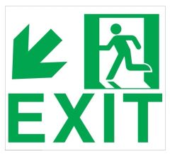 """GLOW IN THE DARK HIGH INTENSITY SELF STICKING PVC GLOW IN THE DARK SAFETY GUIDANCE SIGN - """"EXIT"""" SIGN 9X10 WITH RUNNING MAN AND DOWN LEFT ARROW"""