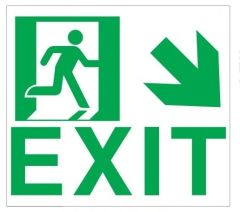 """GLOW IN THE DARK HIGH INTENSITY SELF STICKING PVC GLOW IN THE DARK SAFETY GUIDANCE SIGN - """" EXIT"""" SIGN 9X10 WITH RUNNING MAN AND DOWN RIGHT ARROW"""