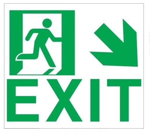 "GLOW IN THE DARK HIGH INTENSITY SELF STICKING PVC GLOW IN THE DARK SAFETY GUIDANCE SIGN - "" EXIT"" SIGN 9X10 WITH RUNNING MAN AND DOWN RIGHT ARROW"
