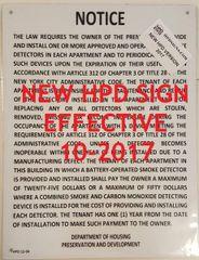 HPD Smoke Detectors NOTICE NEW (WHITE ALUMINUM SIGN)