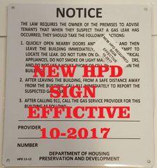 HPD Gas Leak Notice sign HMC § 27-2005