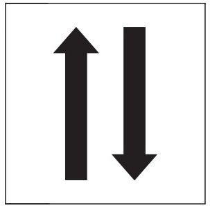 "PHOTOLUMINESCENT 1 UP 1 DOWN ARROWS SIGN HEAVY DUTY / GLOW IN THE DARK ""ONE UPWARDS ONE DOWNWARDS ARROWS"" SIGN HEAVY DUTY (PHOTOLUMINESCENT ALUMINUM SIGN/ EGRESS DIRECTION SIGNS 1.5 X 1.5 )"