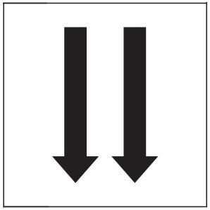 "PHOTOLUMINESCENT 2 DOWN ARROWS SIGN HEAVY DUTY / GLOW IN THE DARK ""TWO DOWNWARD ARROWS"" SIGN HEAVY DUTY (PHOTOLUMINESCENT ALUMINUM SIGN/ EGRESS DIRECTION SIGNS 1.5 X 1.5 )"