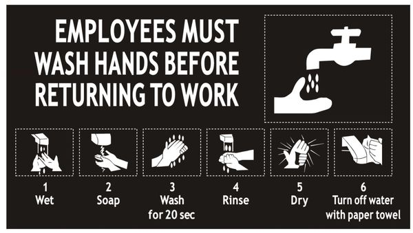 EMPLOYEES MUST WASH HANDS SIGN - BLACK (ALUMINUM SIGNS 5X9)