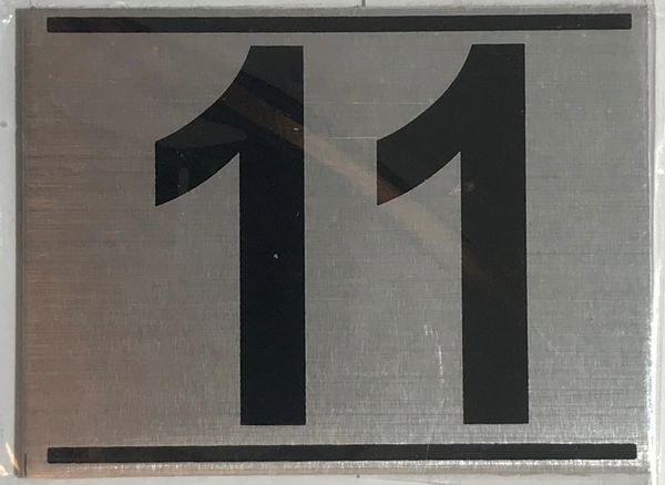 z- APARTMENT NUMBER SIGN – 11 -BRUSHED ALUMINUM (ALUMINUM SIGNS 2.25X3)