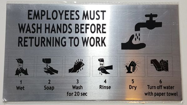 EMPLOYEES MUST WASH HANDS SIGN - BRUSHED ALUMINUM (ALUMINUM SIGNS 5X9)