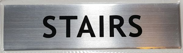 FLOOR NUMBER SIGN - STAIRS SIGN - BRUSHED ALUMINUM (ALUMINUM SIGNS 2X7.75)