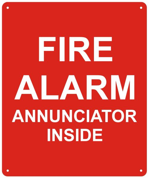 FIRE ALARM ANNUNCIATOR INSIDE SIGN (ALUMINUM SIGNS 10X12)