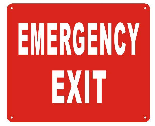 EMERGENCY EXIT SIGN- REFLECTIVE !!! (ALUMINUM SIGNS 10X12)