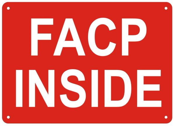 FACP INSIDE SIGN- REFLECTIVE !!! (ALUMINUM SIGNS 5X7)