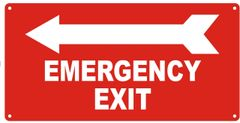 EMERGENCY EXIT LEFT SIGN- REFLECTIVE !!! (ALUMINUM SIGNS 7X14)