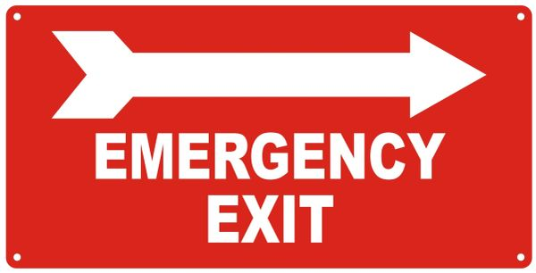 EMERGENCY EXIT RIGHT SIGN- REFLECTIVE !!! (ALUMINUM SIGNS 7X14)
