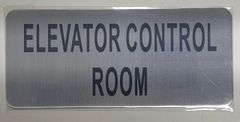 ELEVATOR CONTROL ROOM SIGN – BRUSHED ALUMINUM (ALUMINUM SIGNS 3.5x8)- The Mont Argent Line