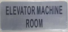 ELEVATOR MACHINE ROOM SIGN – BRUSHED ALUMINUM (ALUMINUM SIGNS 3.5X8)- The Mont Argent Line