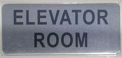 ELEVATOR ROOM SIGN – BRUSHED ALUMINUM (ALUMINUM SIGNS 3.5X8)- The Mont Argent Line