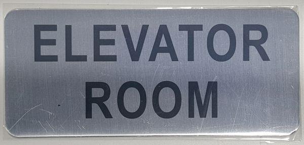 ELEVATOR ROOM SIGN – BRUSHED ALUMINUM (ALUMINUM SIGNS 3.5X8)- The Mont Argent Line