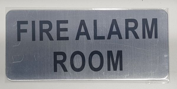FIRE ALARM ROOM SIGN - BRUSHED ALUMINUM (ALUMINUM SIGNS 3.5X8)- The Mont Argent Line
