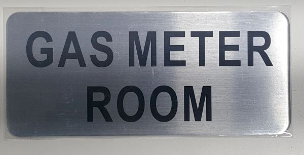 GAS METER ROOM SIGN – BRUSHED ALUMINUM (ALUMINUM SIGNS 3.5X8)- The Mont Argent Line