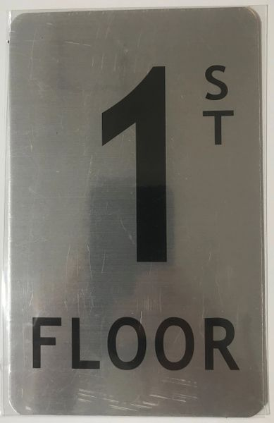 FLOOR NUMBER SIGN - 1ST FLOOR SIGN- BRUSHED ALUMINUM (ALUMINUM SIGNS 8X5)- The Mont Argent Line