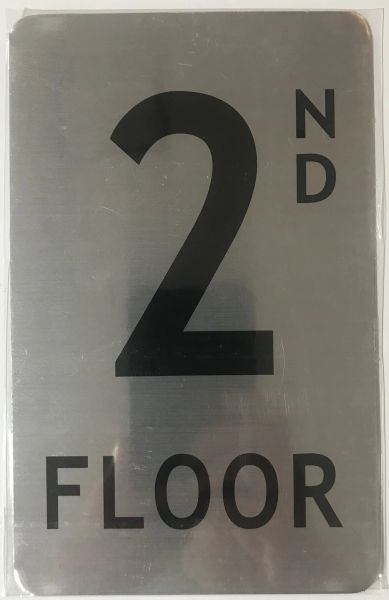 FLOOR NUMBER SIGN - 2ND FLOOR SIGN- BRUSHED ALUMINUM (ALUMINUM SIGNS 8X5)- The Mont Argent Line