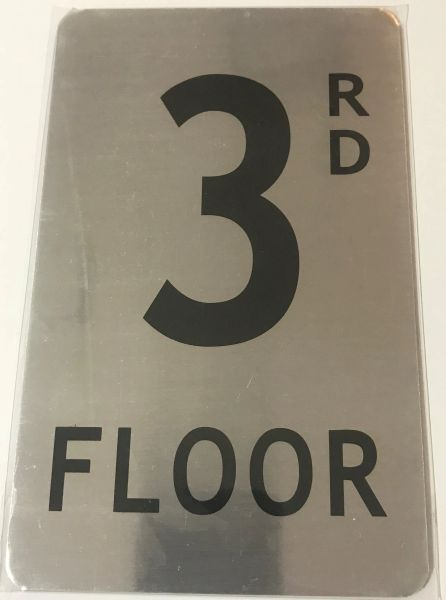 FLOOR NUMBER SIGN - 3RD FLOOR SIGN- BRUSHED ALUMINUM (ALUMINUM SIGNS 8X5)- The Mont Argent Line