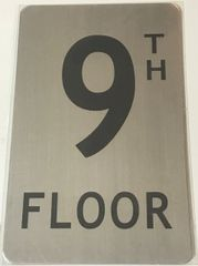 FLOOR NUMBER SIGN - 9TH FLOOR SIGN- BRUSHED ALUMINUM (ALUMINUM SIGNS 8X5)- The Mont Argent Line
