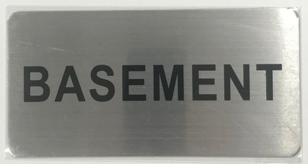 FLOOR NUMBER SIGN - BASEMENT SIGN- BRUSHED ALUMINUM (ALUMINUM SIGNS 4X8)- The Mont Argent Line
