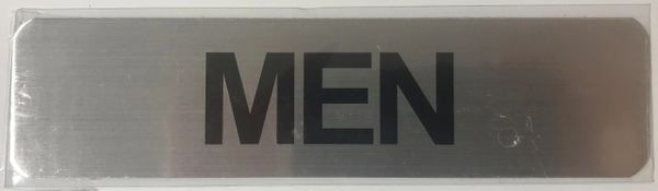 MEN SIGN - BRUSHED ALUMINUM (ALUMINUM SIGNS 2X8)- The Mont Argent Line