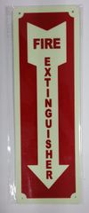 FIRE EXTINGUISHER SIGN - PHOTOLUMINESCENT GLOW IN THE DARK SIGN (PHOTOLUMINESCENT ALUMINUM SIGNS 12X4)
