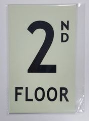 FLOOR NUMBER SIGN - 2ND FLOOR SIGN- PHOTOLUMINESCENT GLOW IN THE DARK SIGN (PHOTOLUMINESCENT ALUMINUM SIGNS 4X8)