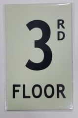 FLOOR NUMBER SIGN - 3RD FLOOR SIGN - PHOTOLUMINESCENT GLOW IN THE DARK SIGN (PHOTOLUMINESCENT ALUMINUM SIGNS 8X5)