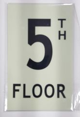 FLOOR NUMBER SIGN - 5TH FLOOR SIGN - PHOTOLUMINESCENT GLOW IN THE DARK SIGN (PHOTOLUMINESCENT ALUMINUM SIGNS 8X5)